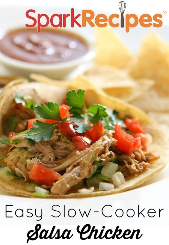 Slow Cooker Salsa Chicken. Yum! | She Climbed Until She Saw